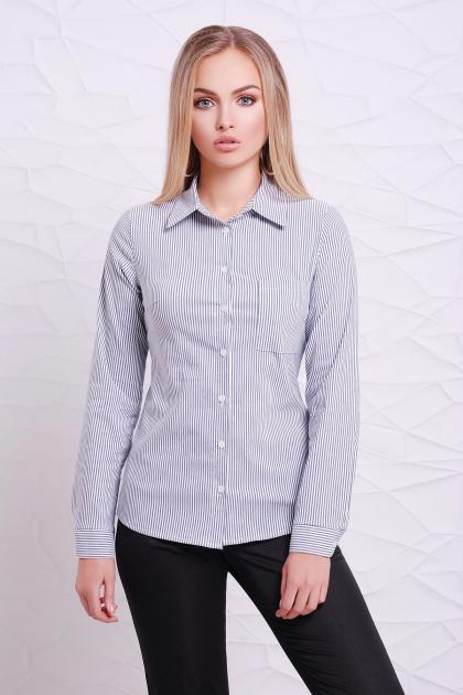 рубашка в полоску для работы. блуза Рубьера д/р. Цвет: белый-черная м. полоска