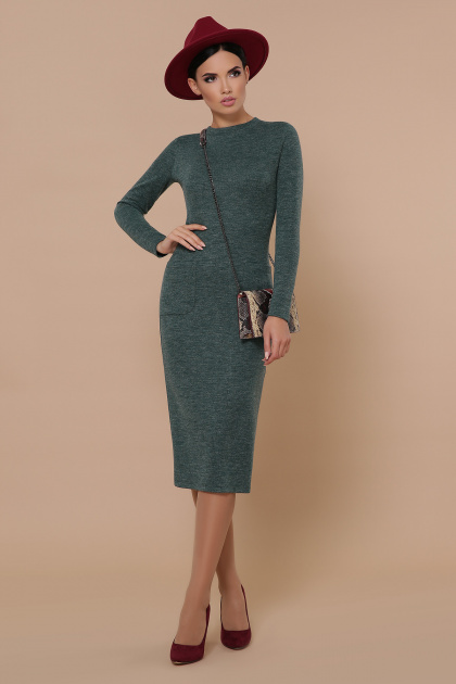 черное платье миди. платье Габриела д/р. Цвет: изумрудный