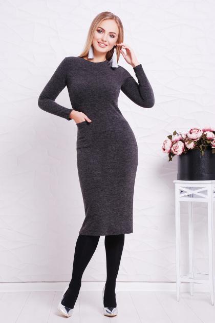 черное платье миди. платье Габриела д/р. Цвет: черный