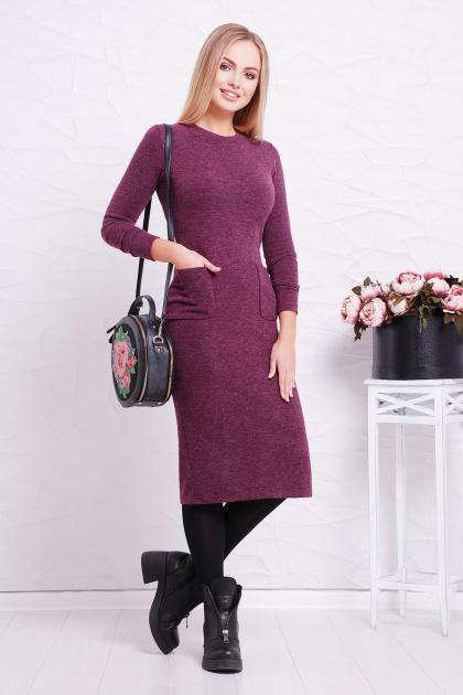 черное платье миди. платье Габриела д/р. Цвет: фиолетовый