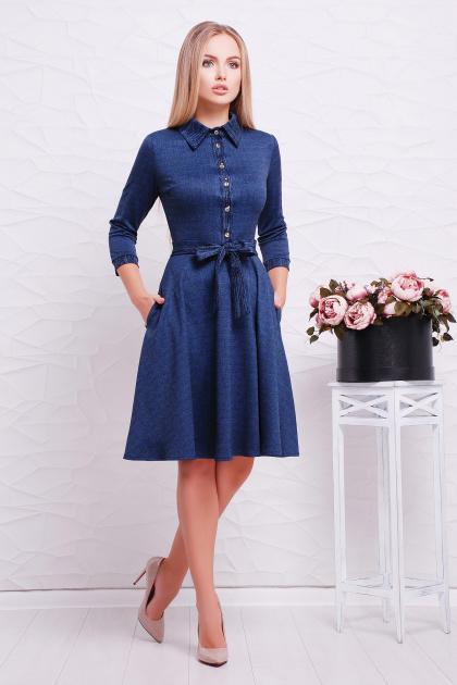 повседневное синее платье. платье Ларена д/р. Цвет: синий-джинс