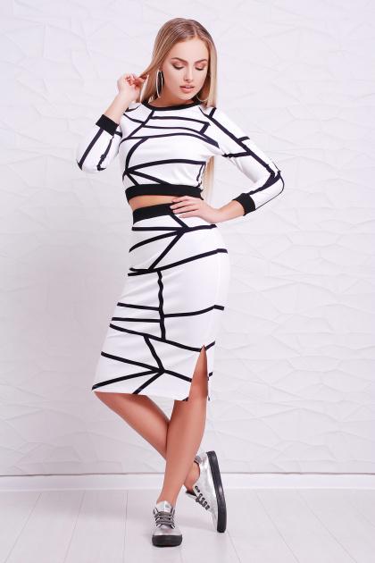 повседневный костюм с принтом. Черные линии Костюм Арина. Цвет: принт-черная отделка
