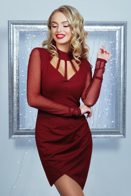 короткое черное платье на праздник. платье Доляна д/р. Цвет: бордовый
