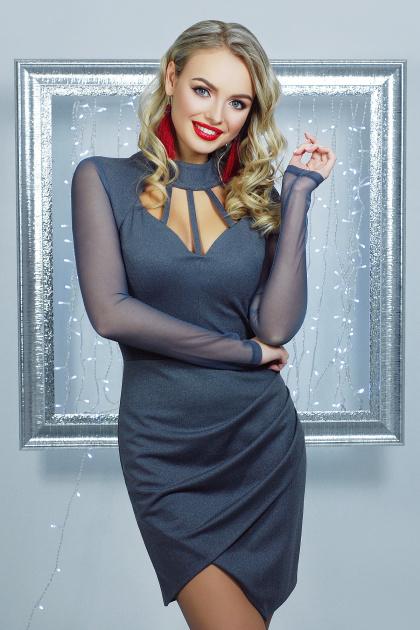 короткое черное платье на праздник. платье Доляна д/р. Цвет: серый