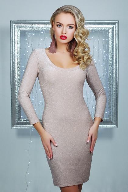 облегающее блестящее платье. платье Сияна д/р. Цвет: пудра