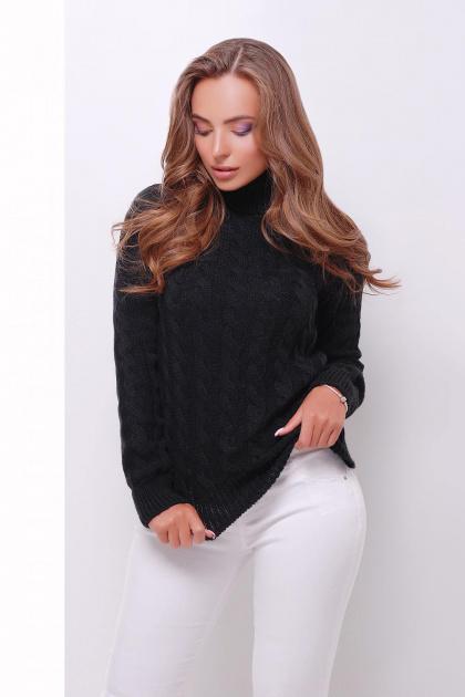 черный свитер с косами. Свитер 134. Цвет: черный