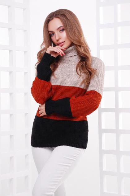 трехцветный вязаный свитер. Свитер 145. Цвет: капучино-терракот-черный