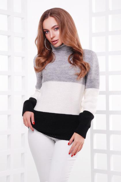 трехцветный вязаный свитер. Свитер 145. Цвет: т.серый-молоко-черный