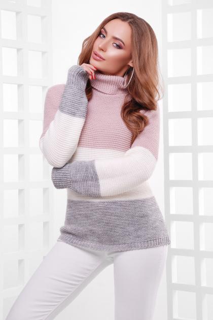 трехцветный вязаный свитер. Свитер 145. Цвет: пудра-молоко-т.серый