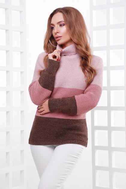 трехцветный вязаный свитер. Свитер 145. Цвет: пудра-роза-коричневый