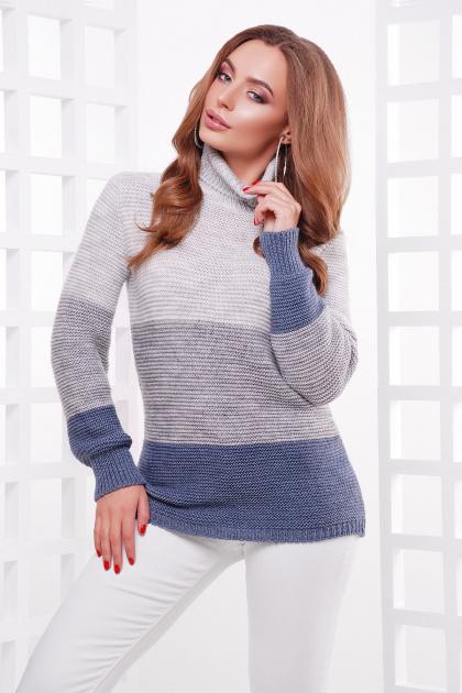 трехцветный вязаный свитер. Свитер 145. Цвет: св.сер-т.серый-св.джинс