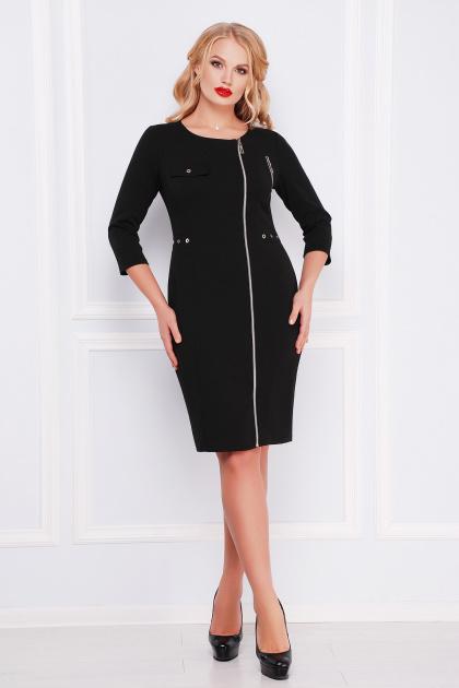 черное платье с молнией спереди. платье Арина-Б д/р. Цвет: черный