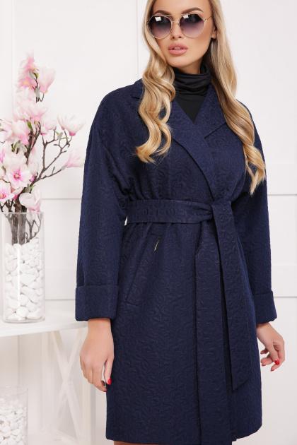 бордовое пальто с накладными карманами. пальто П-301-90. Цвет: т.синий цветок