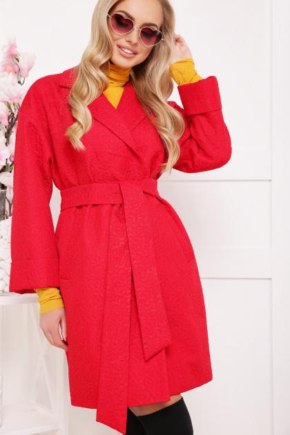 бордовое пальто с накладными карманами. пальто П-301-90. Цвет: красный цветок