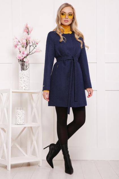 женское пальто цвета электрик. пальто П-337. Цвет: т.синий цветок