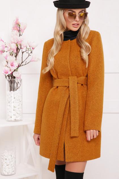 красное пальто без воротника. пальто П-337ш. Цвет: горчица