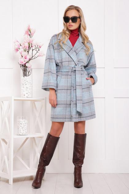 клетчатое пальто прямого кроя. пальто П-300-90. Цвет: 1702