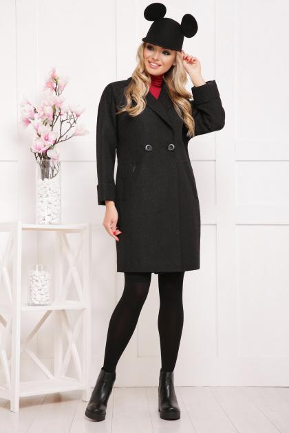 бордовое пальто с накладными карманами. пальто П-301-90. Цвет: черный цветок
