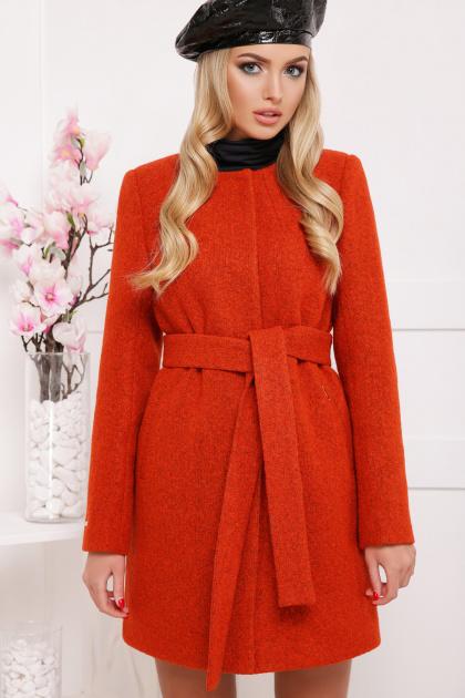красное пальто без воротника. пальто П-337ш. Цвет: терракот
