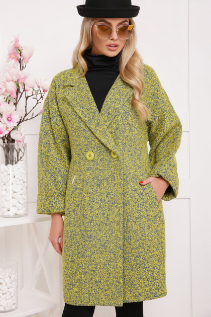 клетчатое пальто прямого кроя. пальто П-300-90. Цвет: 1802