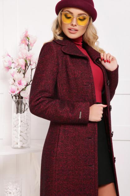 бордовое пальто с английским воротником. пальто П-319. Цвет: 1302