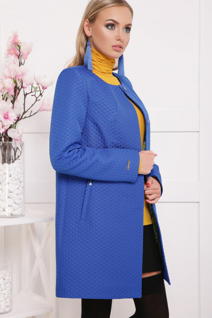 ярко-синее пальто без воротника. пальто П-337. Цвет: электрик горох