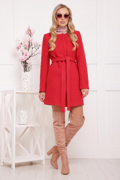 красное пальто без воротника. пальто П-337ш. Цвет: 1008