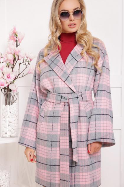 клетчатое пальто прямого кроя. пальто П-300-90. Цвет: 1703