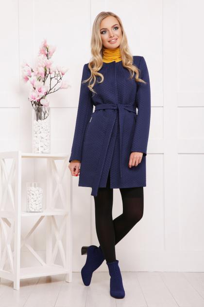 женское пальто цвета электрик. пальто П-337. Цвет: т.синий горох