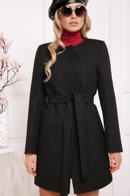 ярко-синее пальто без воротника. пальто П-337. Цвет: черный цветок