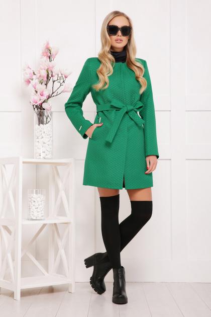 черное пальто на весну. пальто П-337. Цвет: зеленый горох