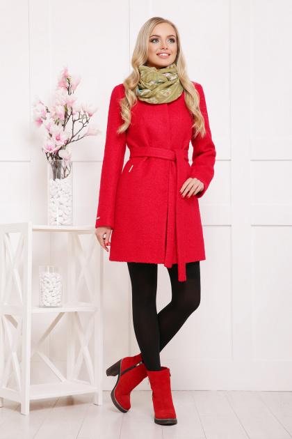 красное пальто без воротника. пальто П-337ш. Цвет: 1201