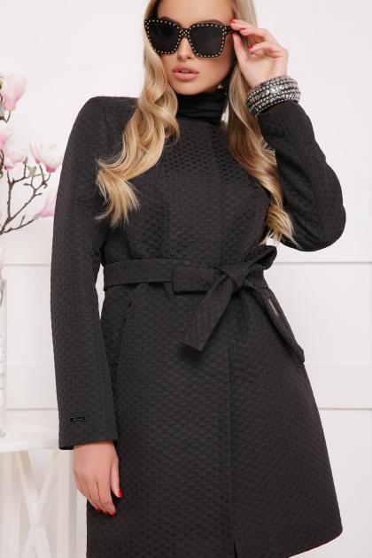 черное пальто на весну. пальто П-337. Цвет: черный горох