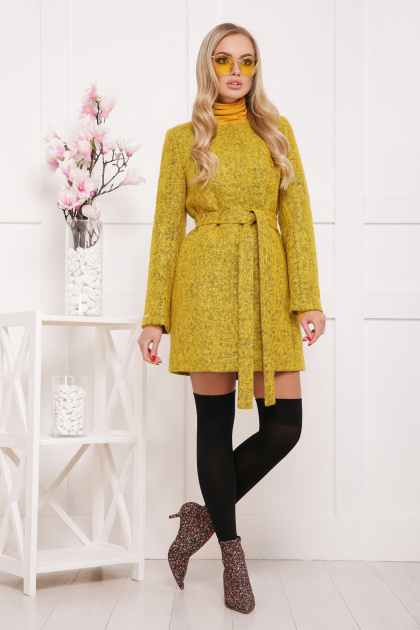 красное пальто без воротника. пальто П-337ш. Цвет: 1505