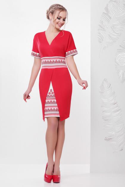 синее платье с орнаментом. Этно-украинский платье Аурика-П д/р. Цвет: красный