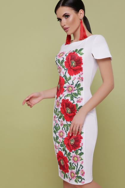 черное платье с маками. Маки платье Питрэса-КД к/р. Цвет: белый