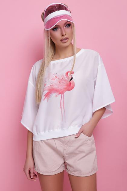 свободная блузка с фламинго. Фламинго блуза Мартина-П к/р. Цвет: принт