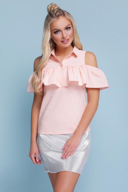 персиковая блузка с воланом. блуза Калелья б/р. Цвет: персик