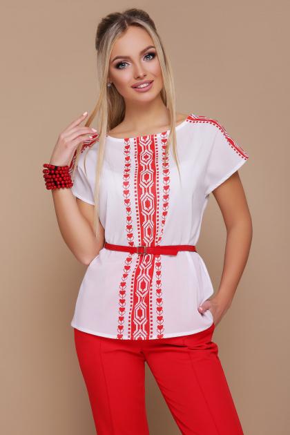 красно-белая блузка с поясом. Орнамент красный блуза Мира б/р. Цвет: принт