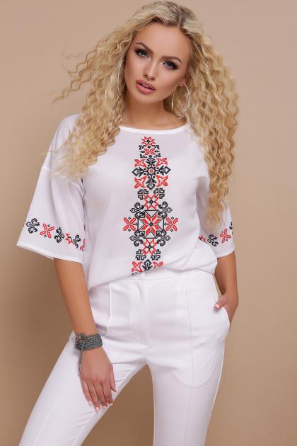 свободная блузка с принтом. Орнамент красный блуза Мирана к/р. Цвет: принт