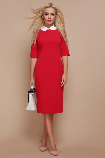 строгое черное платье. платье Ундина 3/4. Цвет: красный