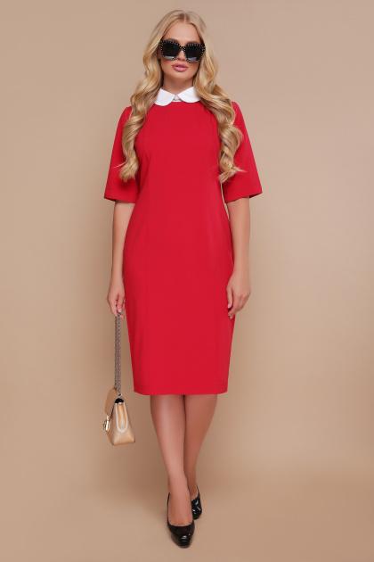 черное офисное платье. платье Ундина-Б 3/4. Цвет: красный