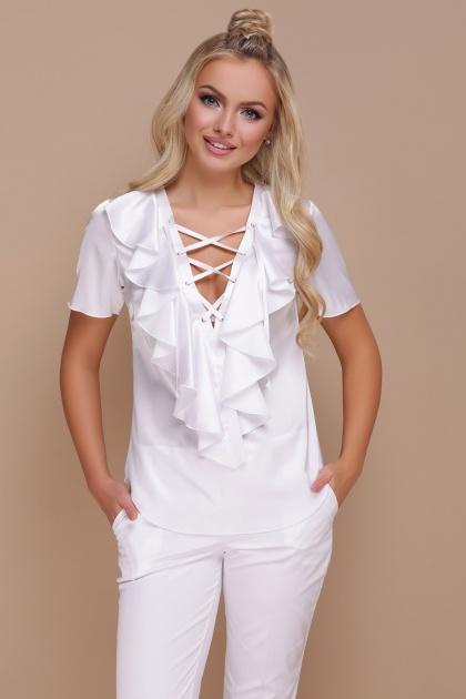 нарядная персиковая блузка. блуза Сиена к/р. Цвет: белый