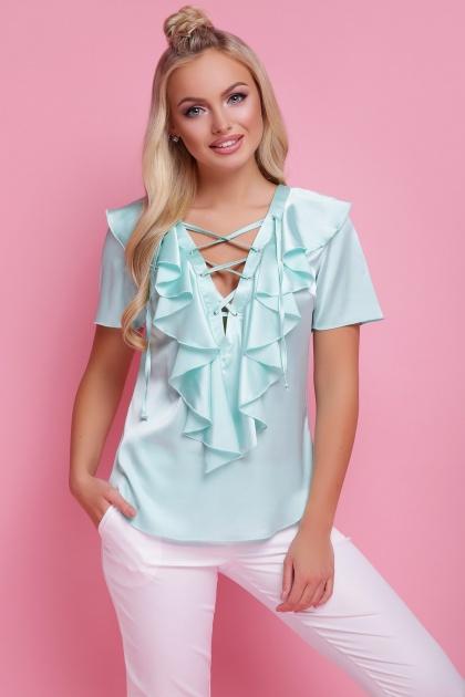нарядная персиковая блузка. блуза Сиена к/р. Цвет: мята
