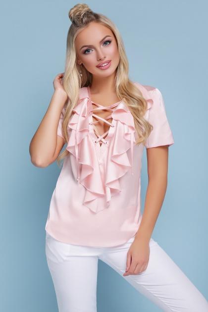 нарядная персиковая блузка. блуза Сиена к/р. Цвет: персик