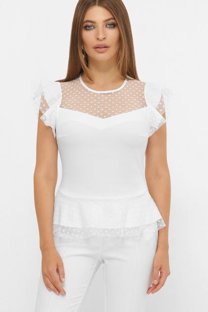 черная блузка с баской. блуза Лайза б/р. Цвет: белый