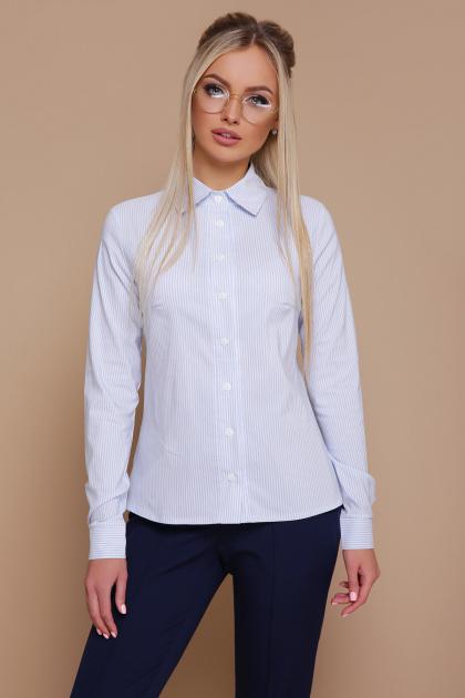 серая рубашка в полоску. блуза Рубьера д/р. Цвет: голубая м.полоска