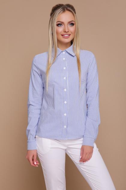 полосатая рубашка с длинным рукавом. блуза Рубьера д/р. Цвет: синяя м. полоска