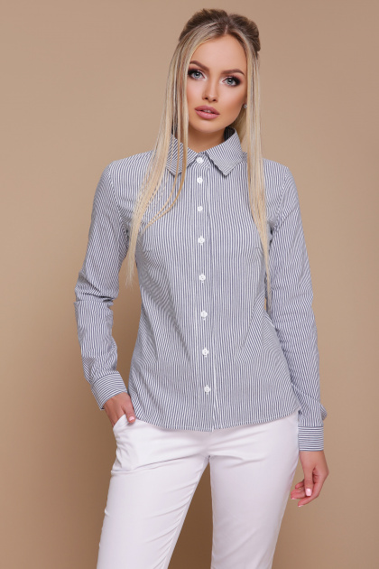 серая рубашка в полоску. блуза Рубьера д/р. Цвет: серая м. полоска