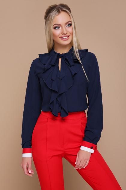 синяя блузка с воланами. блуза Бриана д/р. Цвет: синий